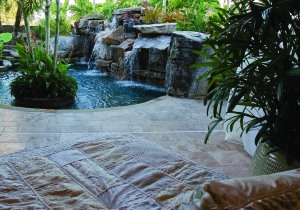 looking at lagoon pool from outdoor bedroom